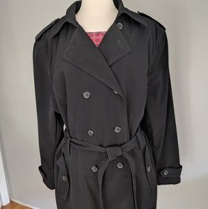 Black Double Breasted Trench Coat Woman's 3X